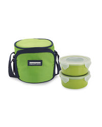 Smart Lock Sml-302 Airtight Tiffin Box With Insulated Bag Melamine 2 Pc Set,  green
