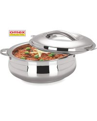Omex Stainless steel 2600 ml insulated Casserole Dia-22 Cm 1 Pc,  silver
