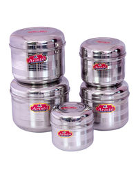 Aristo Steel Big Container 5 Pcs Combo 550 to 1600ml,  silver