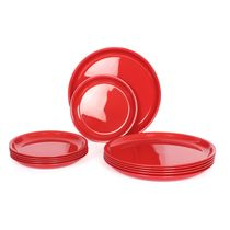 Gluman Microwave Safe Dinner Plate Set - 12 Pcs Round Red,  red