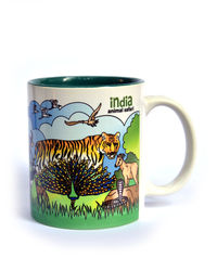 Indiavibes Coffee Tea Animal Safari Theme Printed Ceramic Mug, multicolor