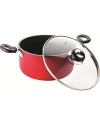 RECON SuperChef Non Stick Casserole With Glass Lid 200mm (3.7ltr),  red