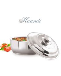 NanoNine Insulated Haandi Serving Pot 1000 ml SS107,  silver
