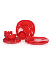 Gluman Microwave Safe Dinner Set - 24 Pcs Square Red,  red