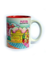 Indiavibes Coffee Tea Punjab Theme Printed Ceramic Mug, multicolor