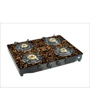 Surya Flame Glaze Black Coffee 4 Burner Glass Top Gas Stove, Multicolor