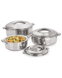 Omex Stainless steel 850-2600 ml Casserole Dia-15.8 - 25 Cm 3 PC Set,  silver