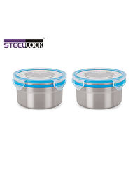 Steel Lock Airtight Storage Containers 500 ml 2 Pc 1302 Container Set, multicolor