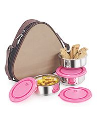 NanoNine Insulated 3pc Hexa Junior Lunch Box SS098,  silver