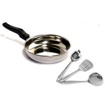 Kitchenware Induction Based Fry Pan 20 Cm With 3 Pcs Kitchen Tool