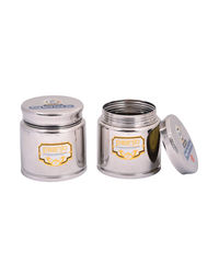 Paanjo Containers 450 ml Steel Lock Jar Set of 2, silver