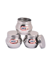 Paanjo Containers 325 ml Scroo Set of 3, silver