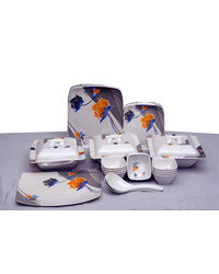 Geeta Diamond Square 44 Pcs Melamine Dinner Set LE-GDS-002, multicolor