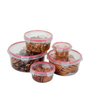Storage Container Set Of 5 Pcs,Transparent-Pink