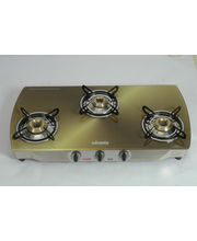 Advanta Premium Vetra Copper 3 Burner Glass Top Gas Stove, Multicolor