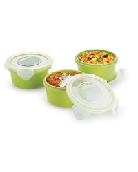 Smart Lock Sm-2001 Air Tight Round Melamine Container 225 Ml 3 Pc Set,  green