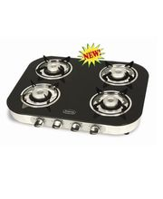 Padmini CS-4GT RU Crystal Black 4 Burner Gas Stove, Multicolor