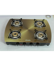 Advanta Premium Vetra Copper 4 Burner Glass Top Gas Stove With Automatic Ignition, Multicolor