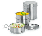 Sizzle tiffin Lunch pack with Green color Insulated Bag 200 ml Stainless Steel Small (5 X3), silver