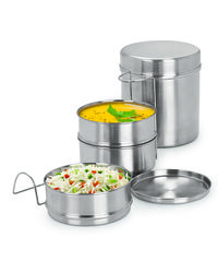 Sizzle tiffin Lunch pack with Blue color Insulated Bag 200 ml Stainless Steel Small (5 X3) 1 PC,  silver