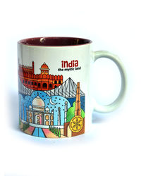 Indiavibes Coffee Tea Mystic Land Theme Printed Ceramic Mug, multicolor