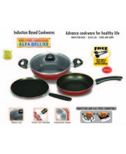 Induction And Gas Stove Compatible Non Stick Cookware (Red)