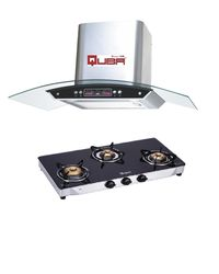 Quba Chimney 1115 With Quba 3 Burner Gas Stove G350A, multicolor