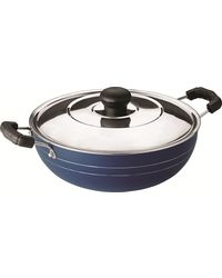 RECON MasterChef Non Stick Deep Kadhai With Steel Lid 255mm (3.3ltr),  blue