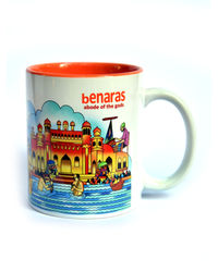 Indiavibes Coffee Tea Benaras Theme Printed Ceramic Mug, multicolor