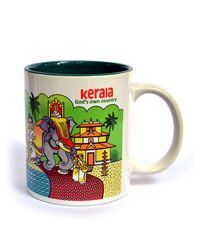 Indiavibes Coffee Tea Kerala Theme Printed Ceramic Mug, multicolor