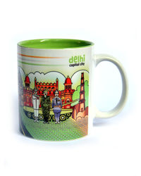 Indiavibes Coffee Tea Delhi Theme Printed Ceramic Mug, multicolor