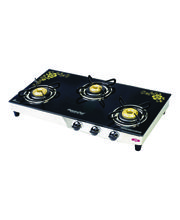 Signoracare 3 Burner L. P. G. Glass Top Gas Stove, Multicolor