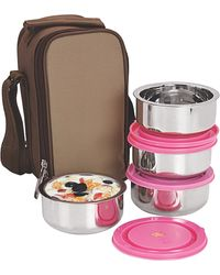 NanoNine Insulated 4pc Junior with Pink Lid Box SS071, multicolor