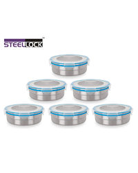 Steel Lock Airtight Storage Food Containers 1200 ml 6 Pc 1501 Combo Set, multicolor