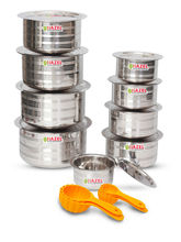 Hazel Designer Tope with Lid-Set of 9 with Free 5 Pc Scoop Set, silver