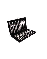 Shapes Hammer Cutlery Set of Black Box With 24 Pcs.,  silver