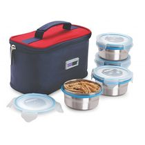 Steel Lock HL- 1251 Airtight 4 pc 200 ml each Lock Steel Lunch / Meal/Tiffin Box with Insulated bag, multicolor