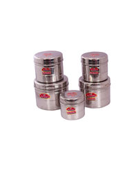 Aristo Stainless Steel Container 5pcs Storage sets 500ml-1750ml,  silver