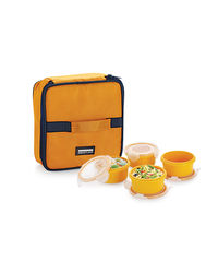 Smart Lock Sml-204 Airtight Tiffin Box With Insulated Bag Melamine 4 Pc Set,  yellow