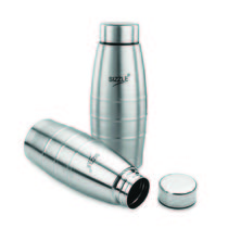 Sizzle Fridge Water Bottle 400 Ml 2 Pc Set,  silver