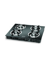 Padmini CS-4GT Prima Crystal Black 4 Burner Gas Stove, Black