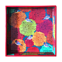 The Elephant Company Floral Marigold Square Tray,  red