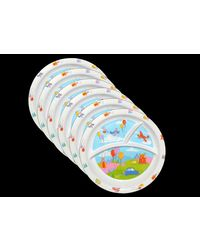 Trendy Melamine Round Kids Section Plates Set of 24 Pcs LE-KTR-001-WT-24, multicolor