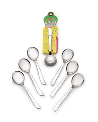 Roop's Dessert Soup Spoon Stainless Steel 6 Pc set,  silver