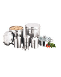 Kitchen Essentials Storage Containers and Cookware Combo 9 Pcs Set, silver