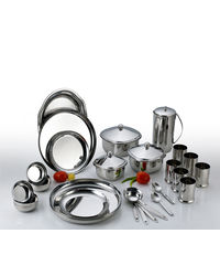 Aristo Round Stainless Steel Dinner Set 51 Pcs,  silver