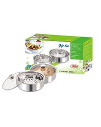 NanoNine Insulated Chapati Casserole Gift Set of 2 - Mini & Medium SS091,  silver