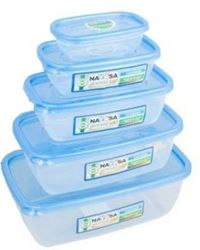 Nayasa Microwave Safe Container Size 0-4 - 1100 ml, 150 ml, 300 ml, 680 ml, 1800 ml Plastic Food Container,  blue