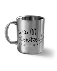 Let's Coffee - Message Mug,  silver