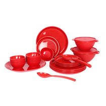 Gluman Microwave Safe Dinner Set - 32 Pcs Round Red,  red
